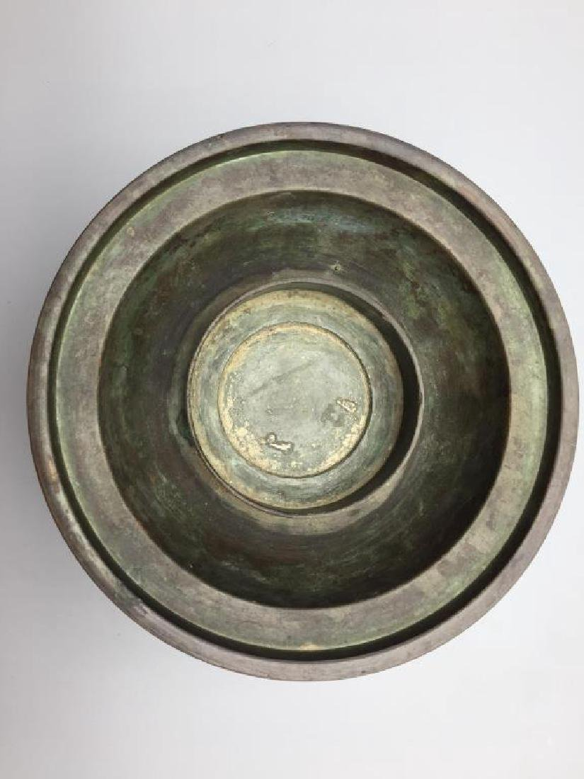 Asian bronze offering dish in 3 footed base - 3