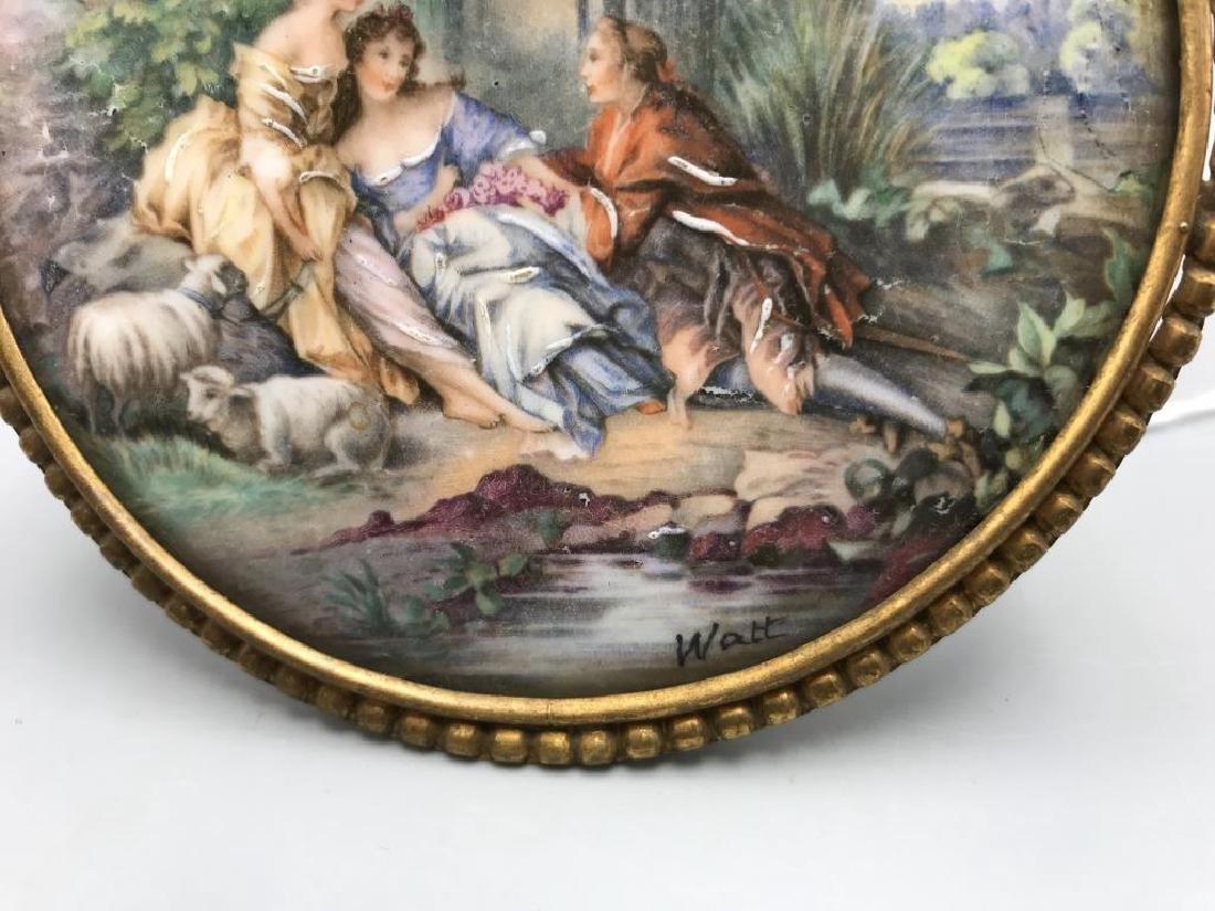 Limoges signed Watt hand-painted porcelain - 2