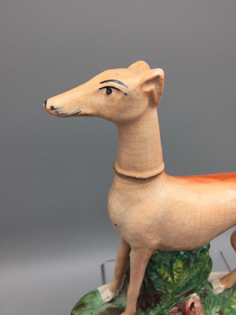 Staffordshire greyhound and rabbit statue - 3
