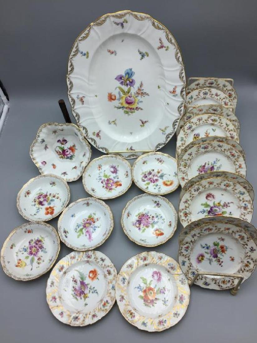 12 Dresden ice cream serving plates and dishes