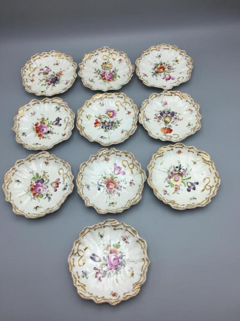 Meissen Dresden lot of 10 bowls floral pattern