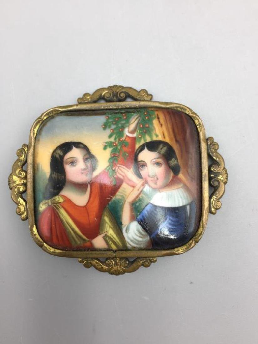 Lot of 3 Early hand painted portrait brooches; - 6