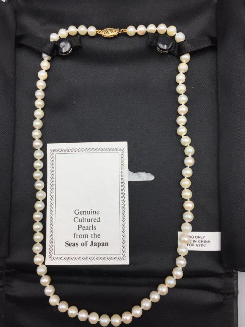 Cultured pearl necklace with 14 K clasp - 2