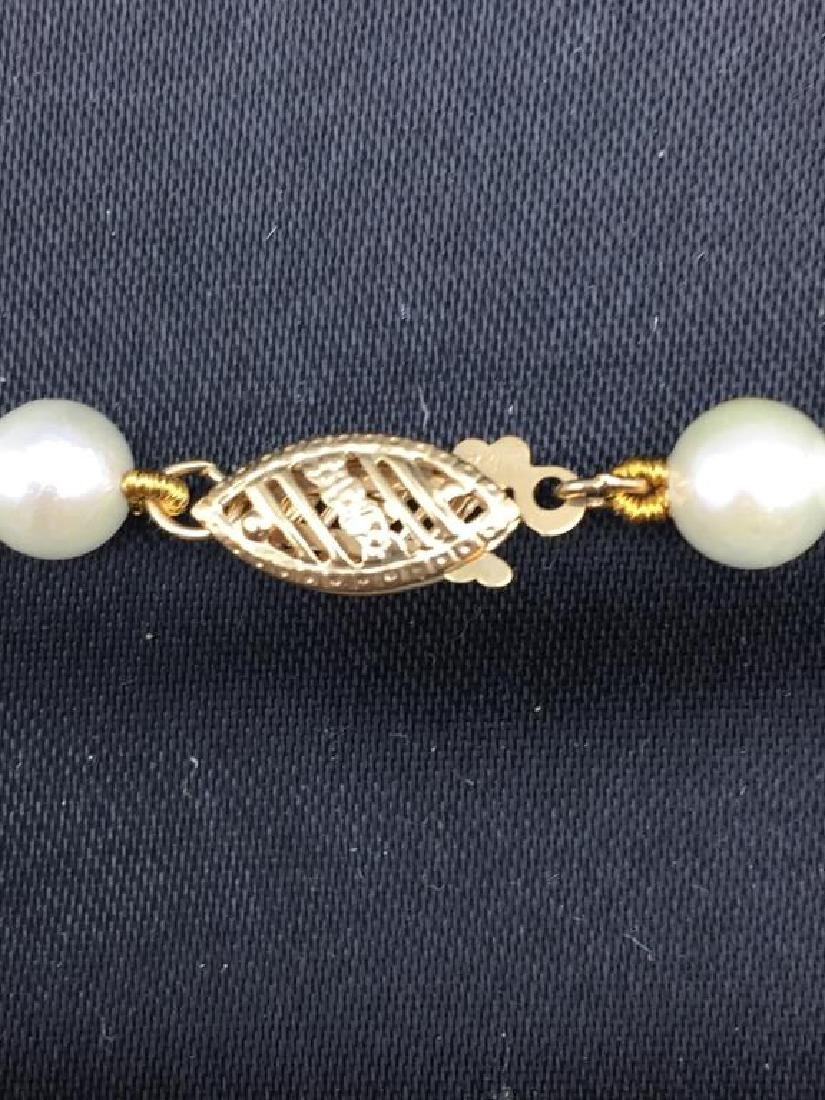 Cultured pearl necklace with 14 K clasp - 3