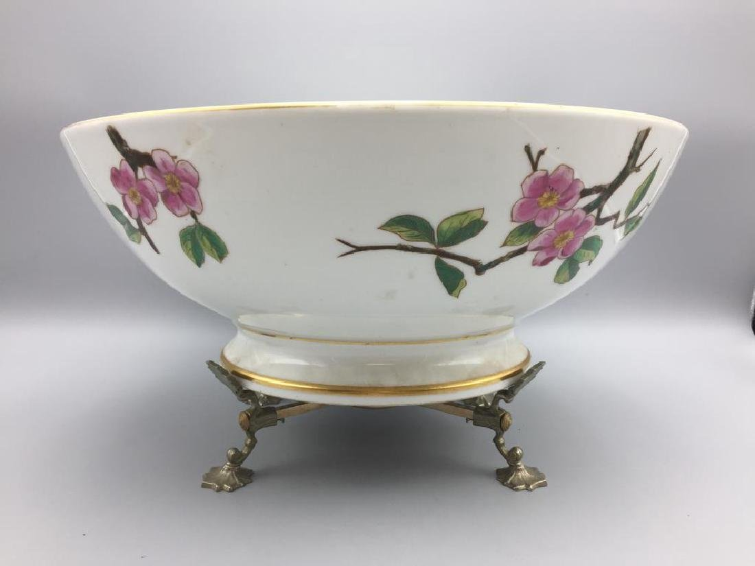 Large hand painted punch bowl