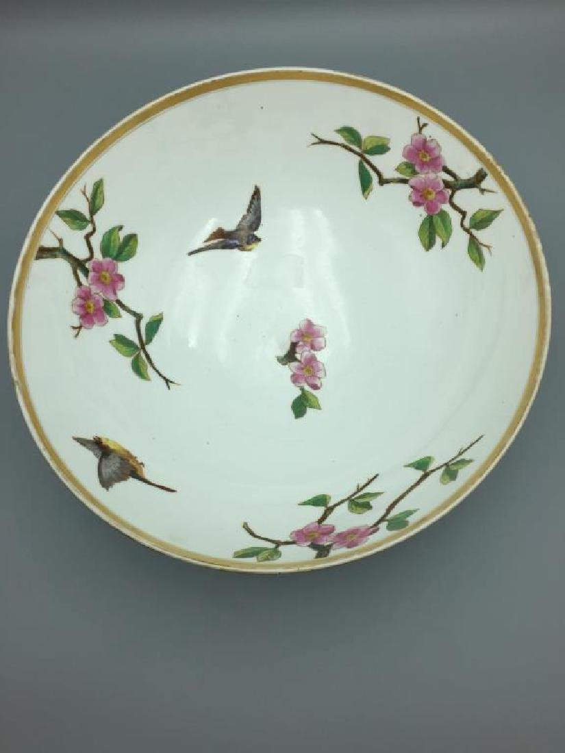 Large hand painted punch bowl - 3
