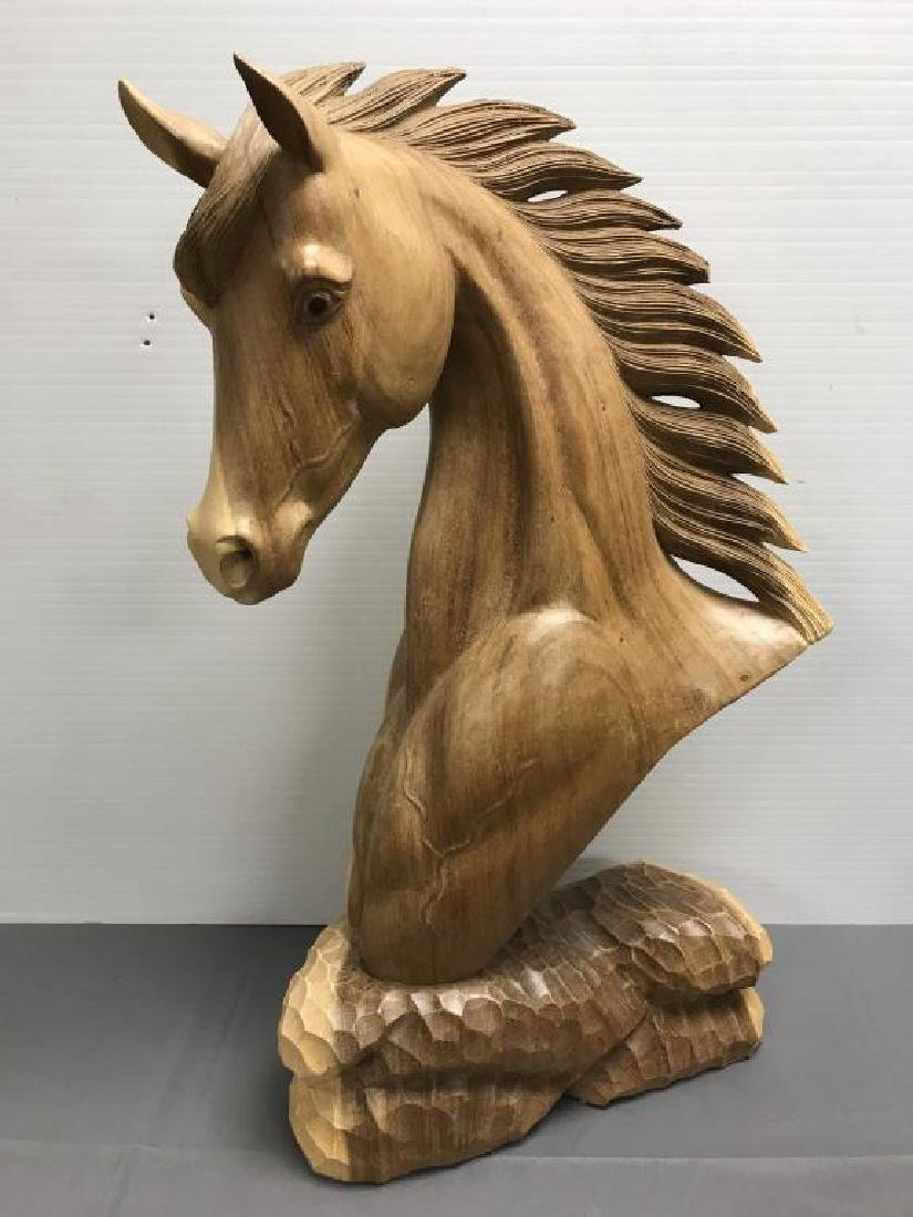 Wood carving chest of horse
