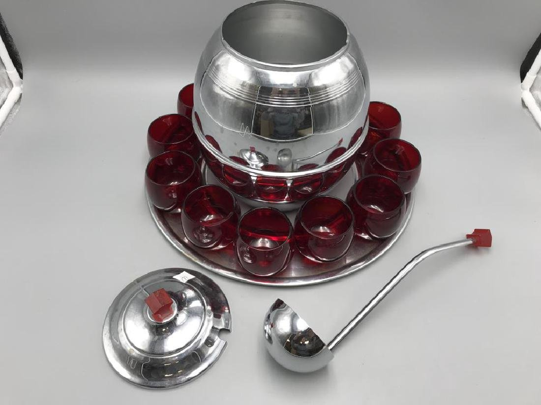 Art deco Chrome Bakelite with Ruby glasses punch - 2
