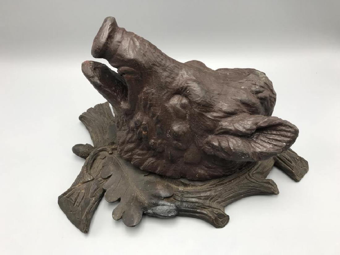 German Black Forest wooden wild boars head - 2