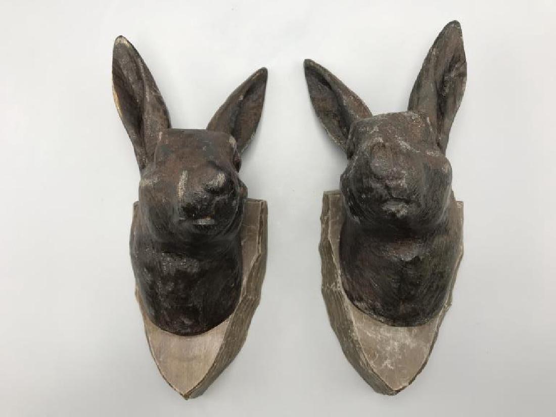 German Black Forest rabbit head plaques