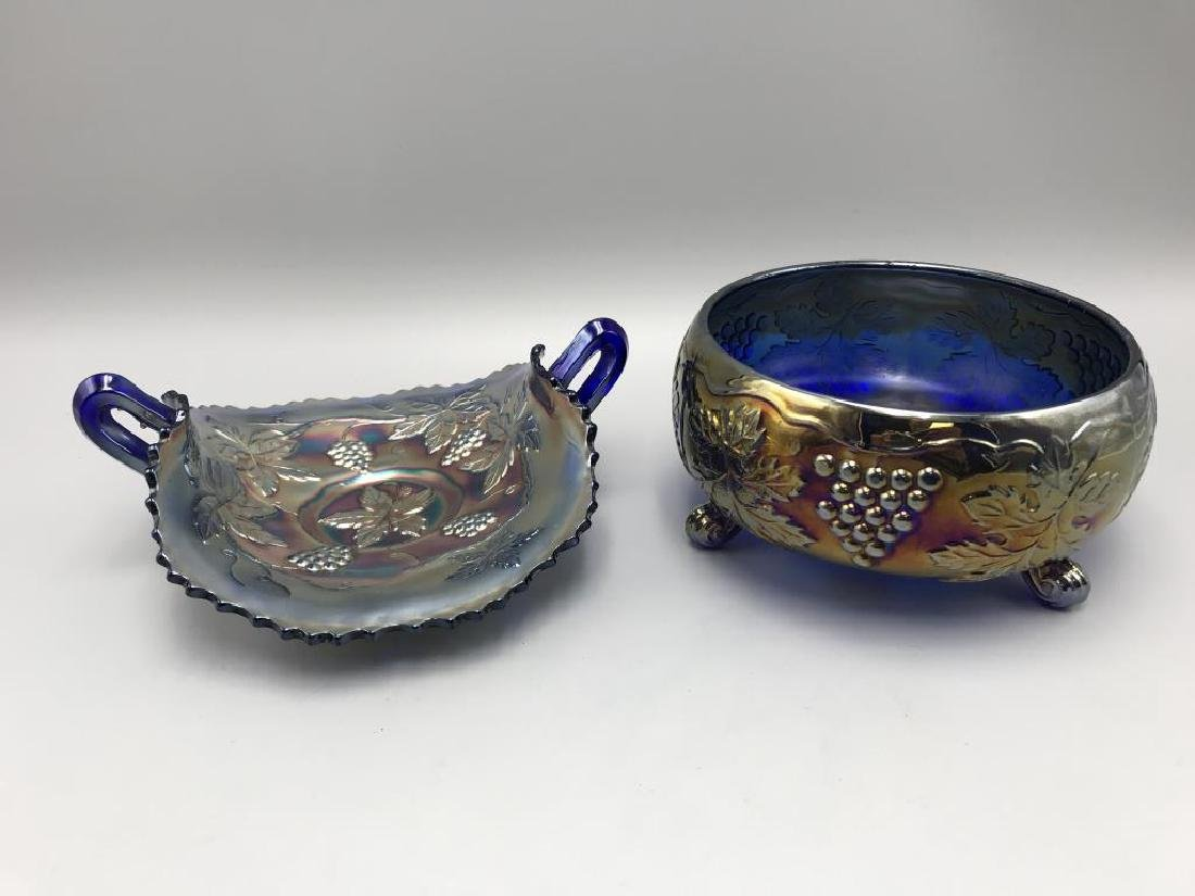 2 Blue carnival footed bowl; - 2