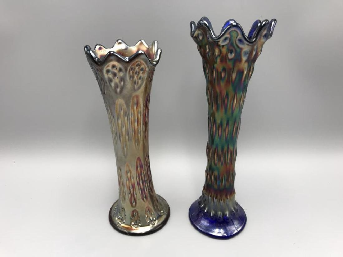 Lot of two carnival glass vases