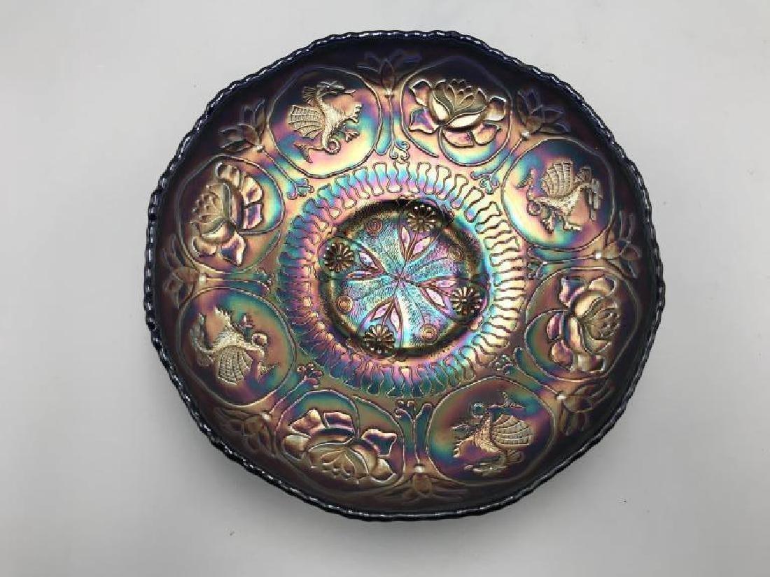 Carnival glass bowl; 8 inch cobalt blue bowl,