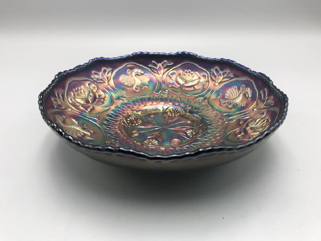 Carnival glass bowl; 8 inch cobalt blue bowl, - 2