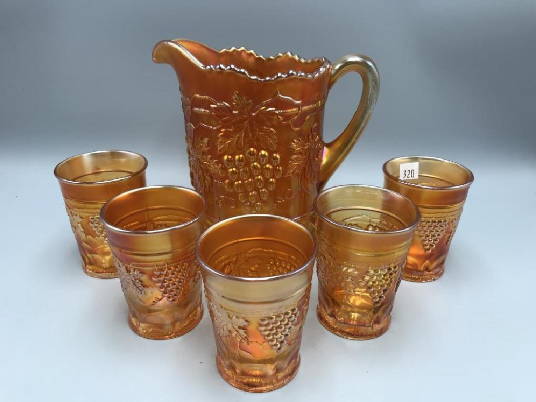 Carnival glass water set