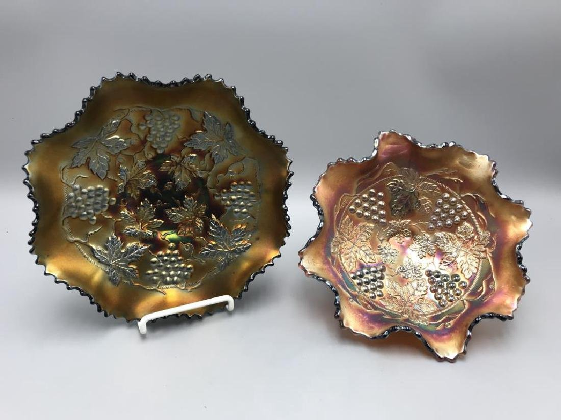 Lot of 2 carnival glass bowls;
