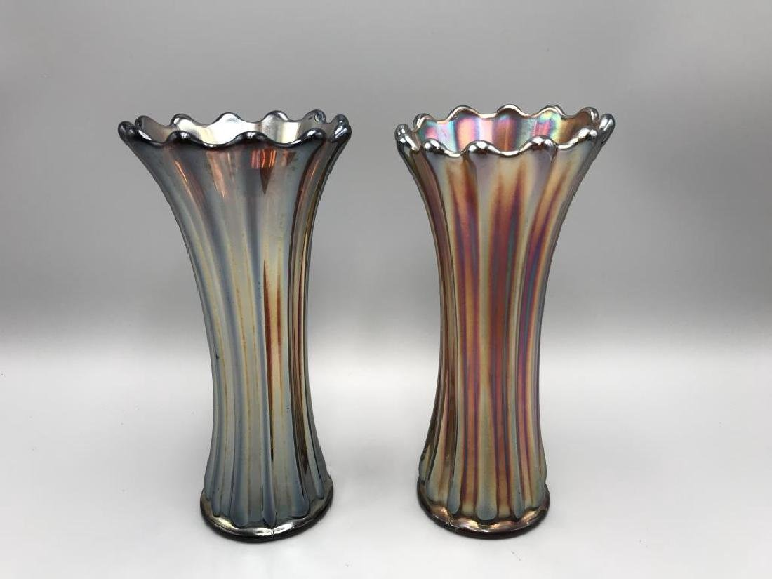 Lot of two carnival glass vases: both 9 inch tall