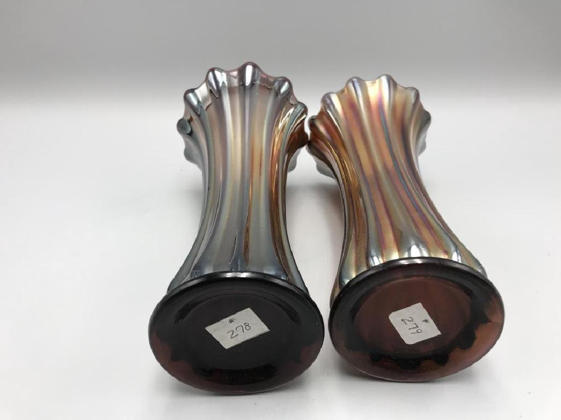 Lot of two carnival glass vases: both 9 inch tall - 2