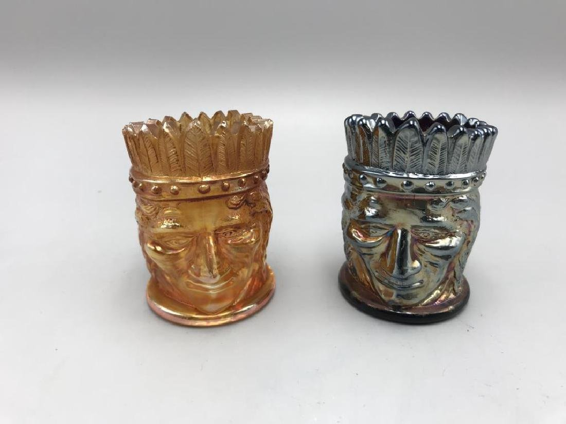 lot of two carnival glass toothpick holders
