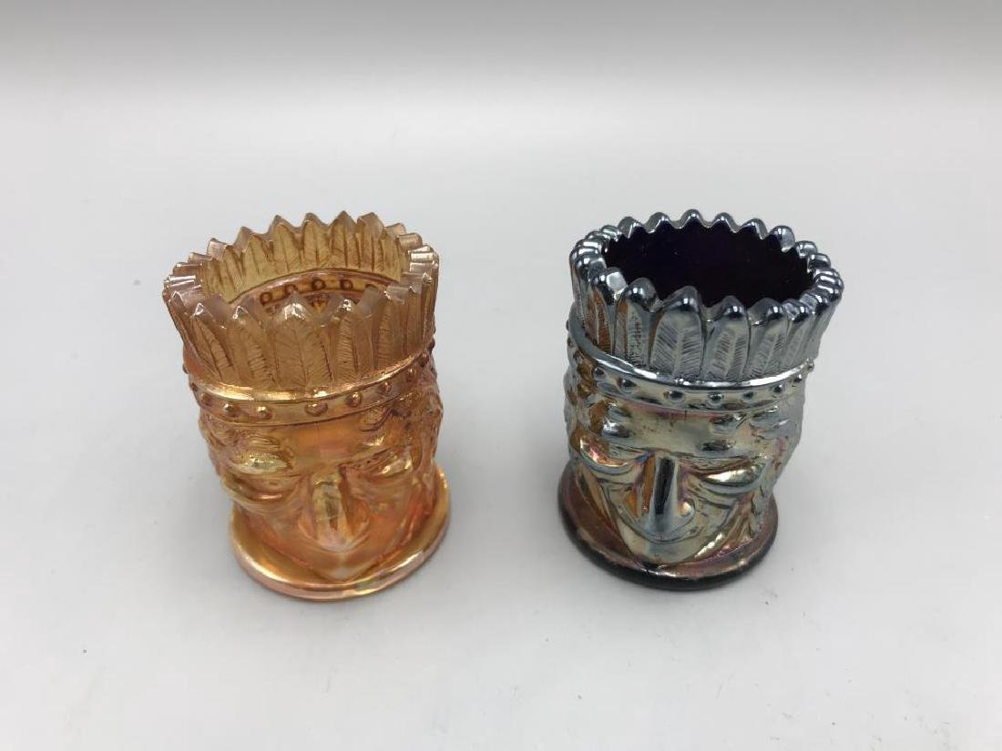 lot of two carnival glass toothpick holders - 2