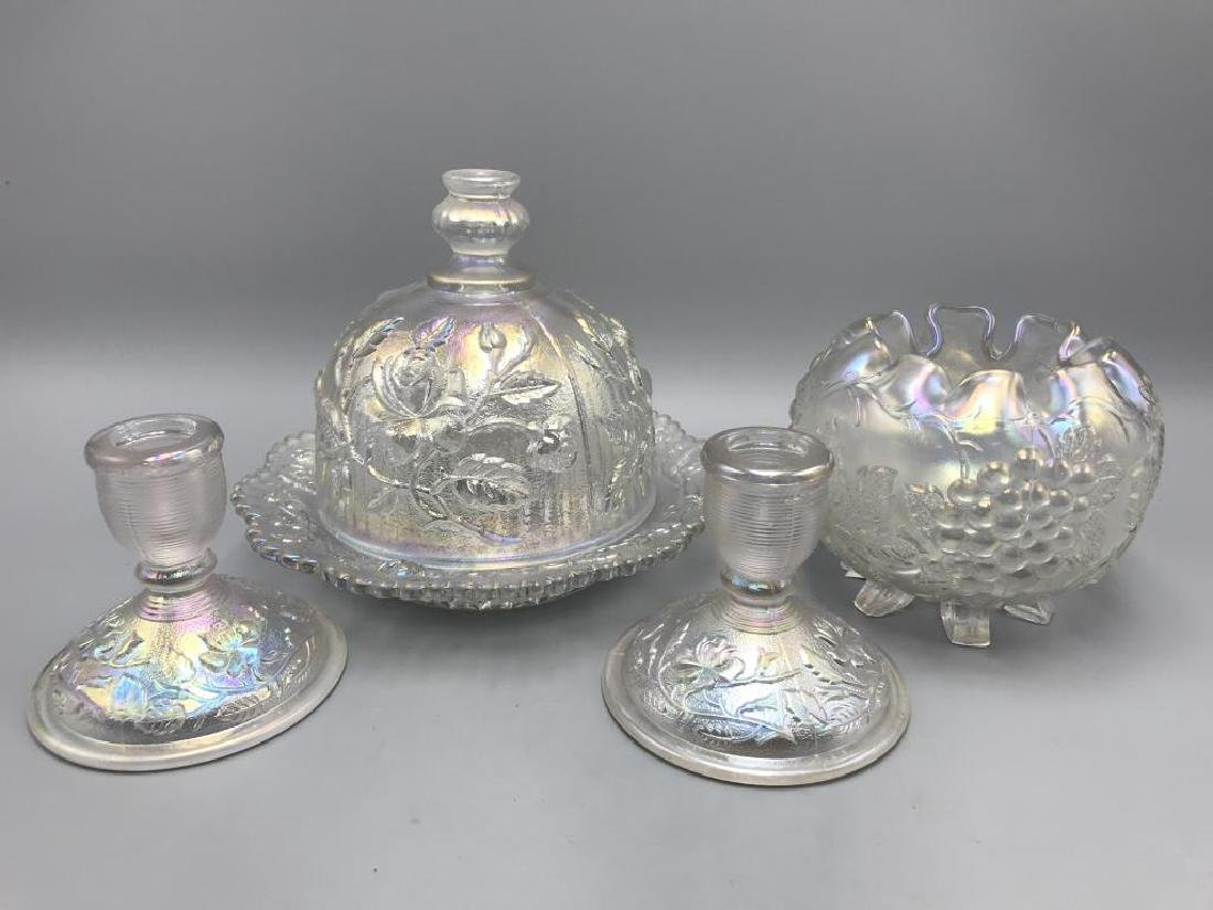 Lot of four white carnival glass items