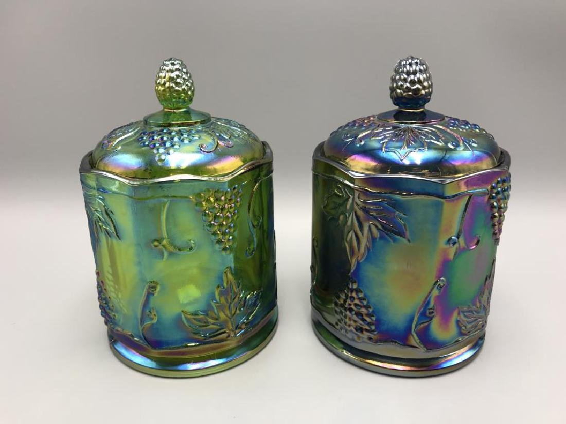 Lot of two carnival glass covered jar's