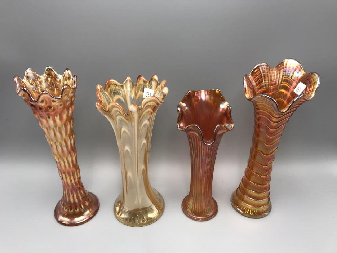 Lot of four marigold carnival vases - 2