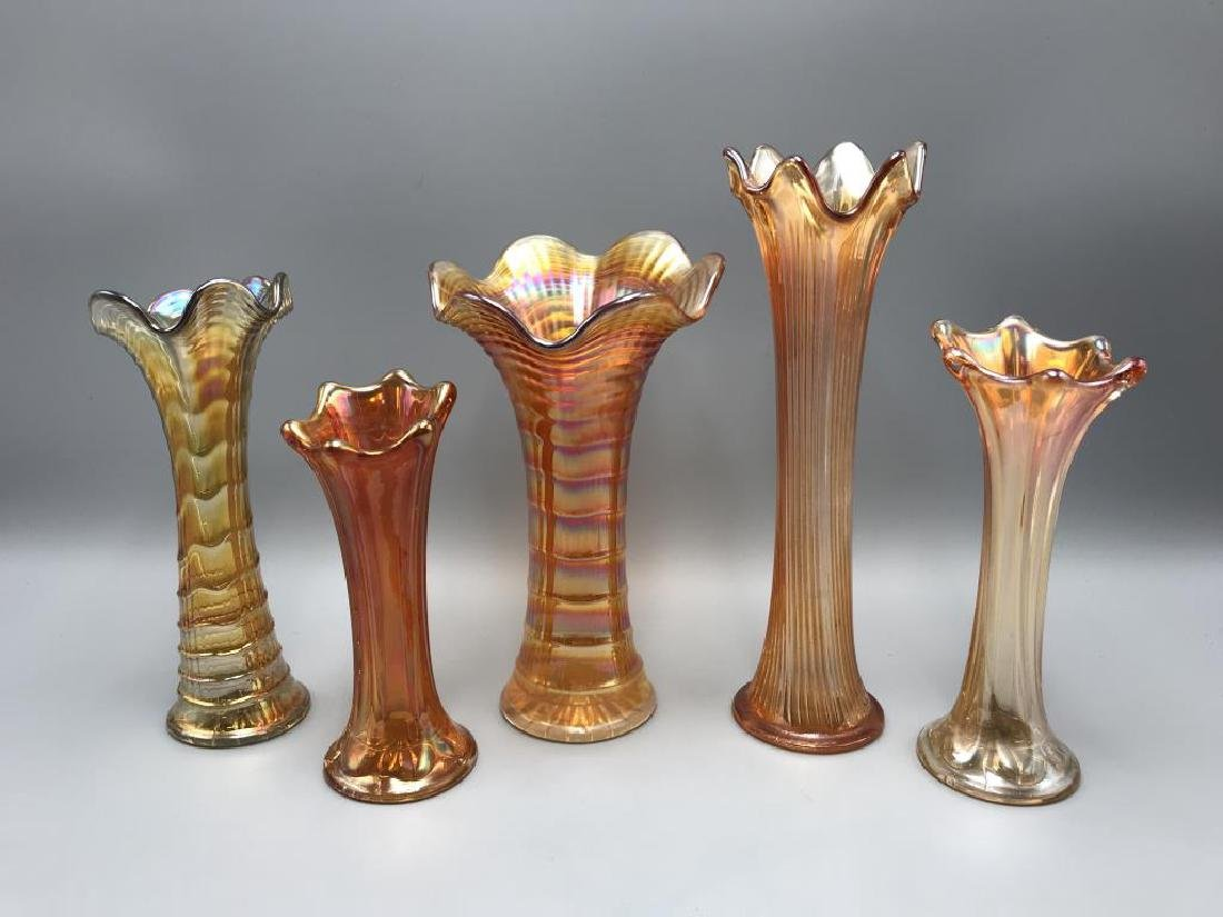 Lot of five Marigold carnival glass vases