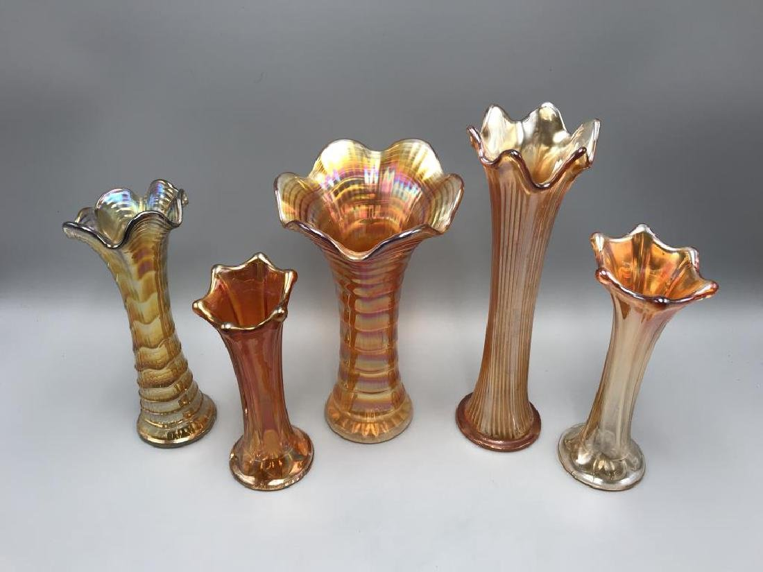 Lot of five Marigold carnival glass vases - 2