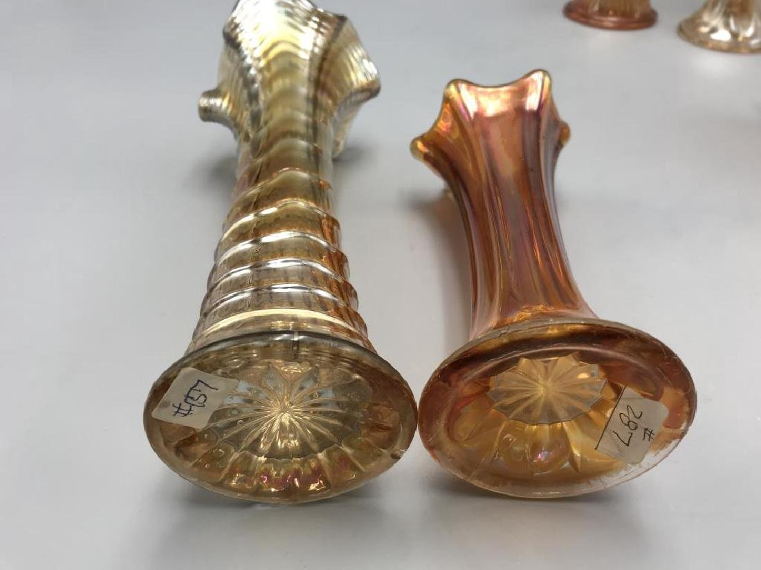 Lot of five Marigold carnival glass vases - 3