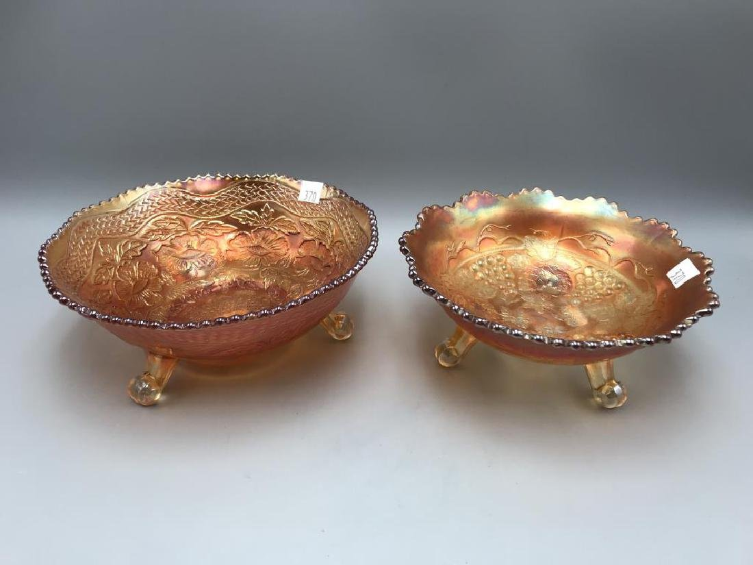 Lot of two marigold carnival footed bowl's