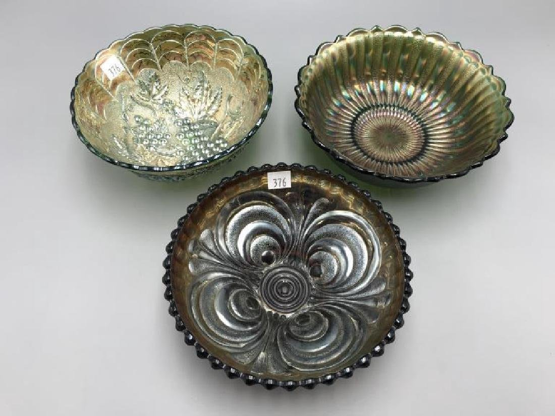Lot of three carnival glass bowls