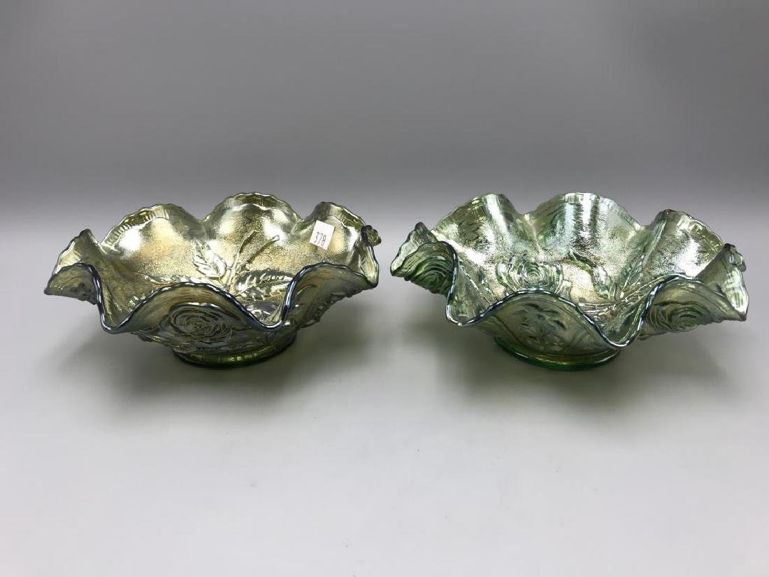Lot of two wavy top carnival glass bowls - 2