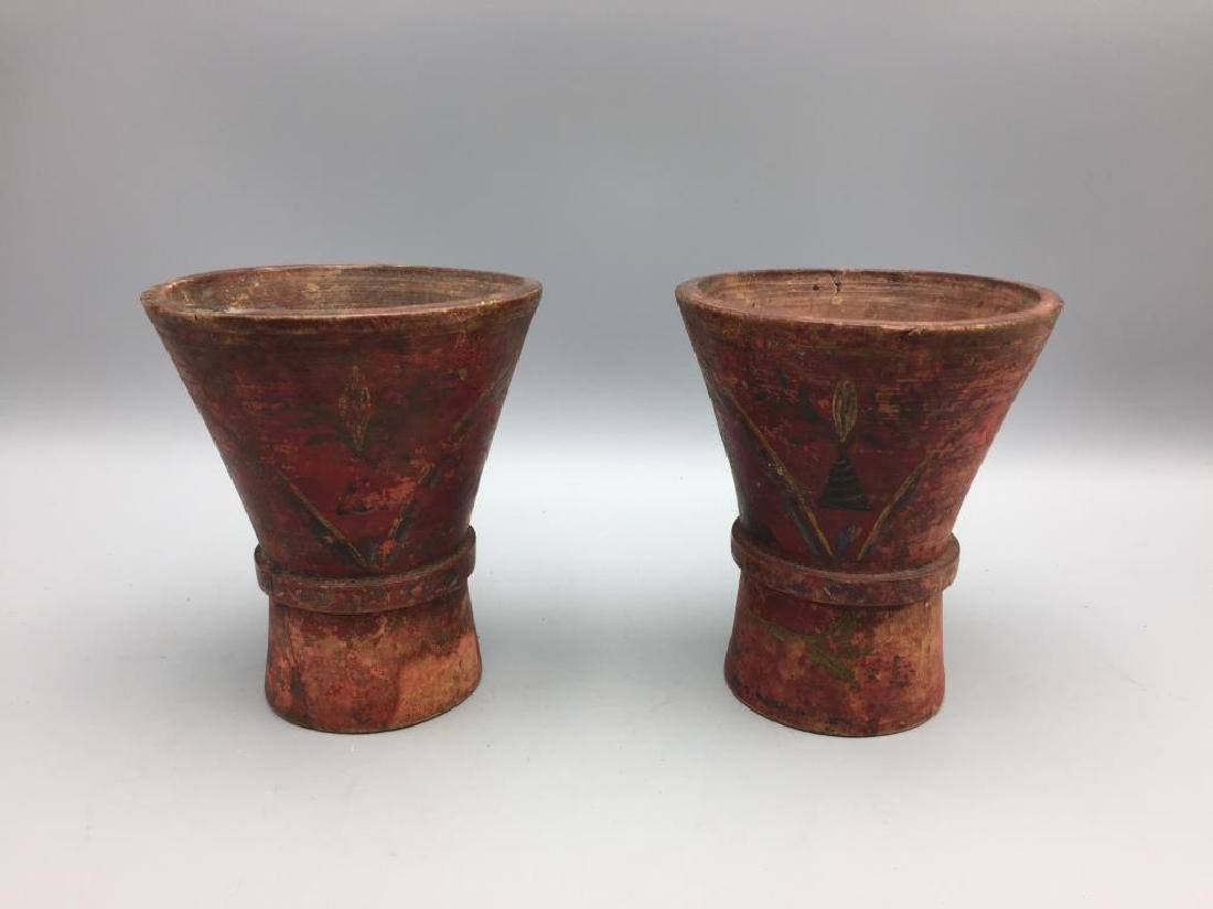 2 early wooden hand-painted cups Treen ware