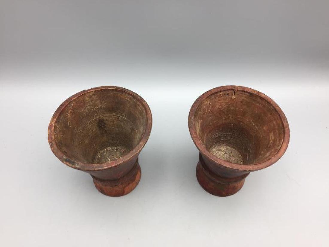 2 early wooden hand-painted cups Treen ware - 2