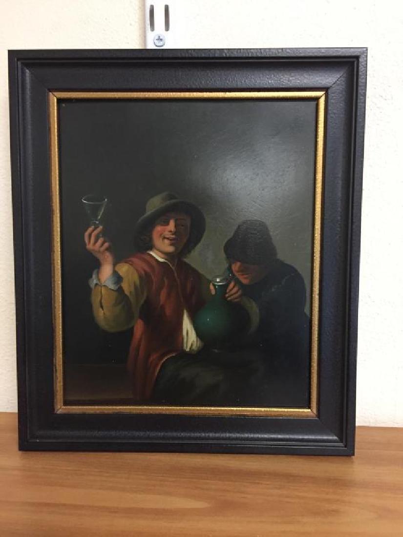 Oil on board two European men drinking