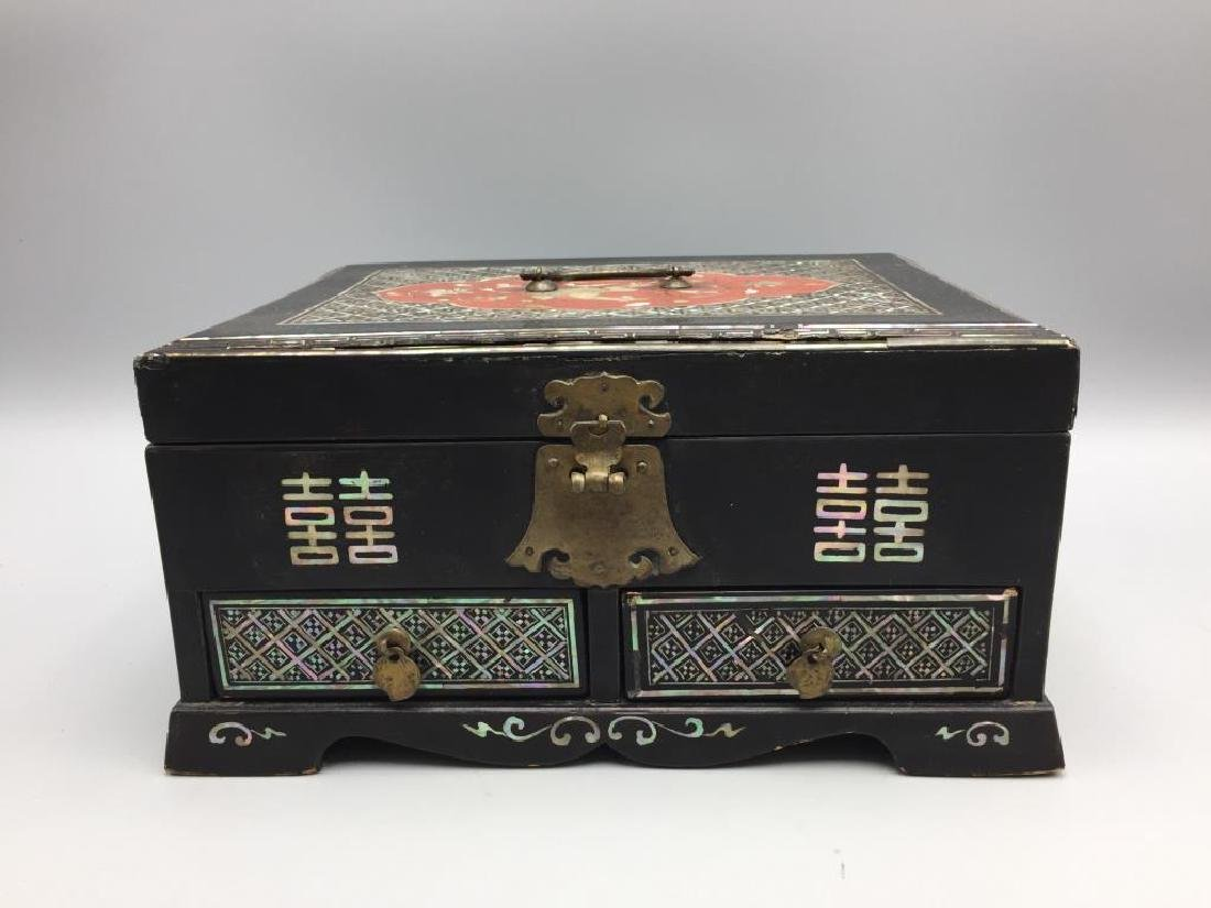 Korean inlaid mother-of-pearl footed wooden box