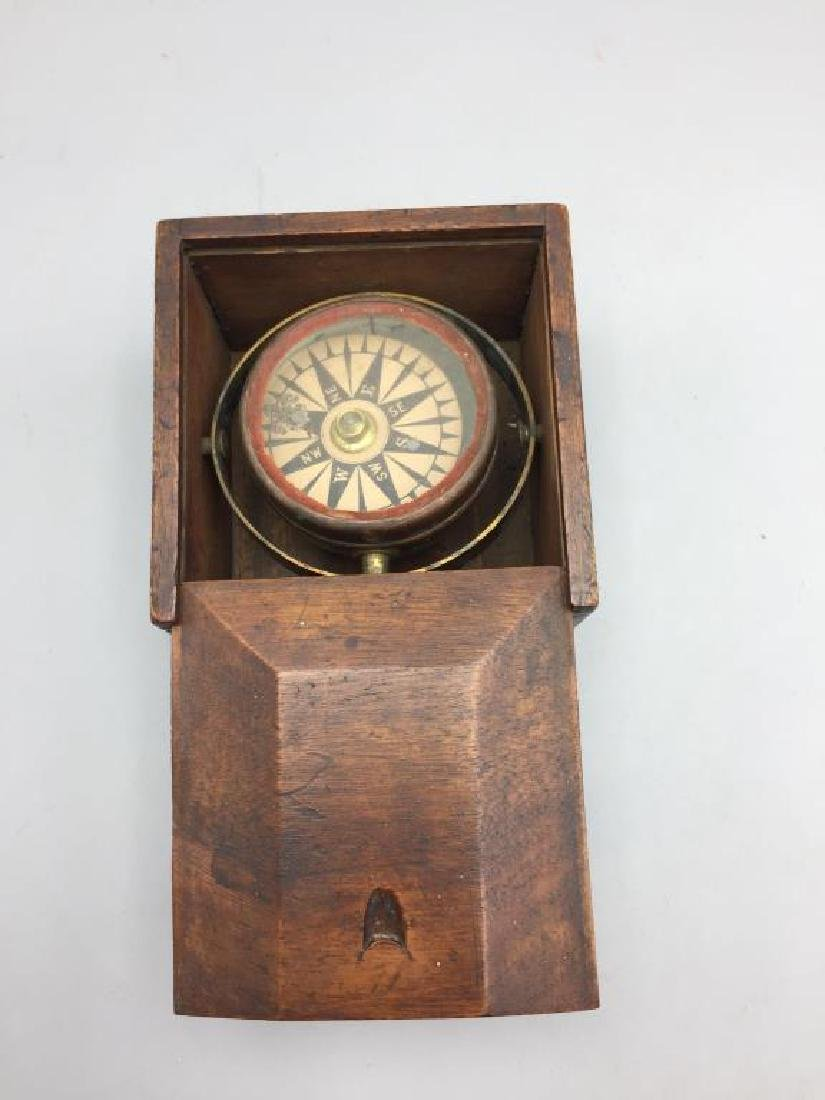 Early ship compass in wooden box - 2