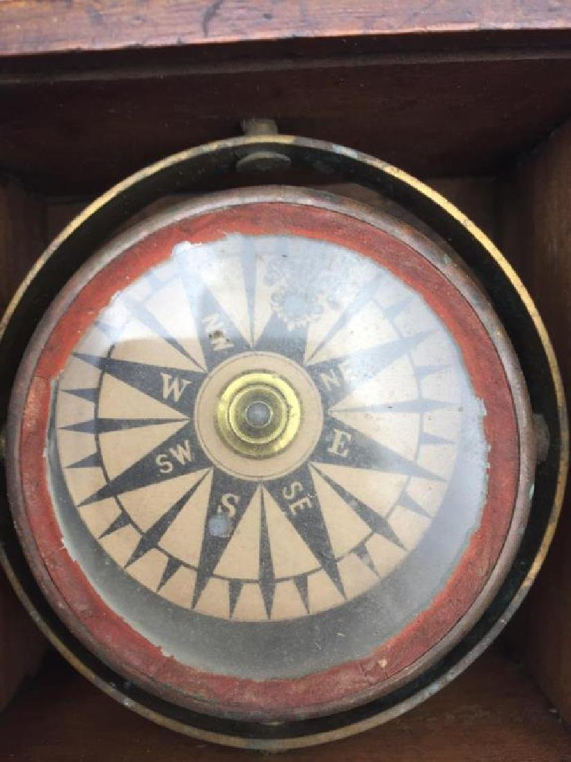 Early ship compass in wooden box - 3