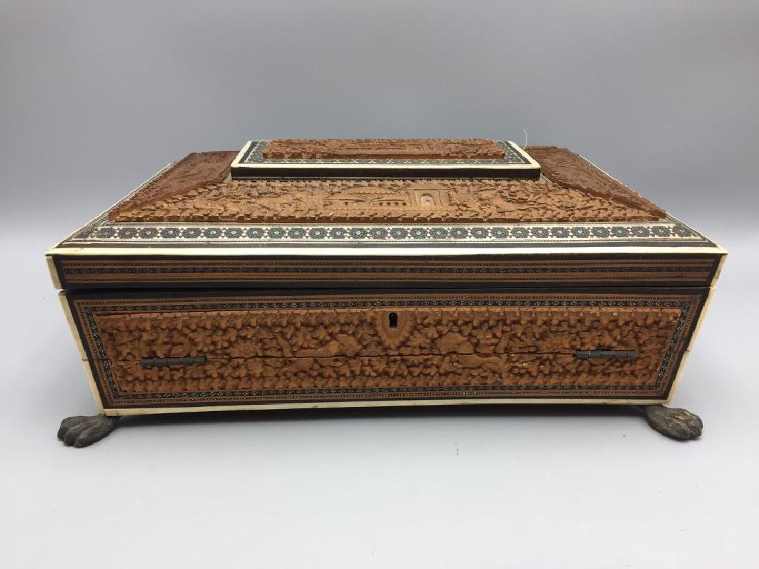 Early sandal wood carved inlaid sewing box