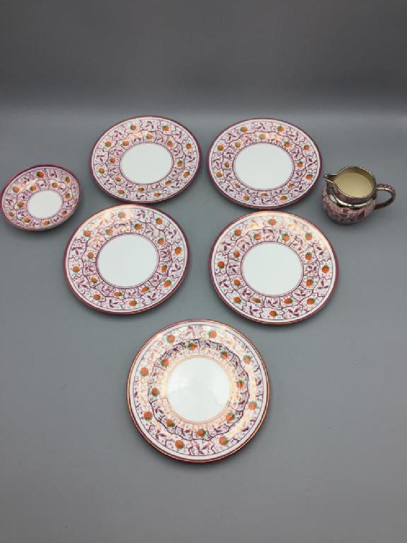 Pink Luster plates dishes & Wedgwood miniature