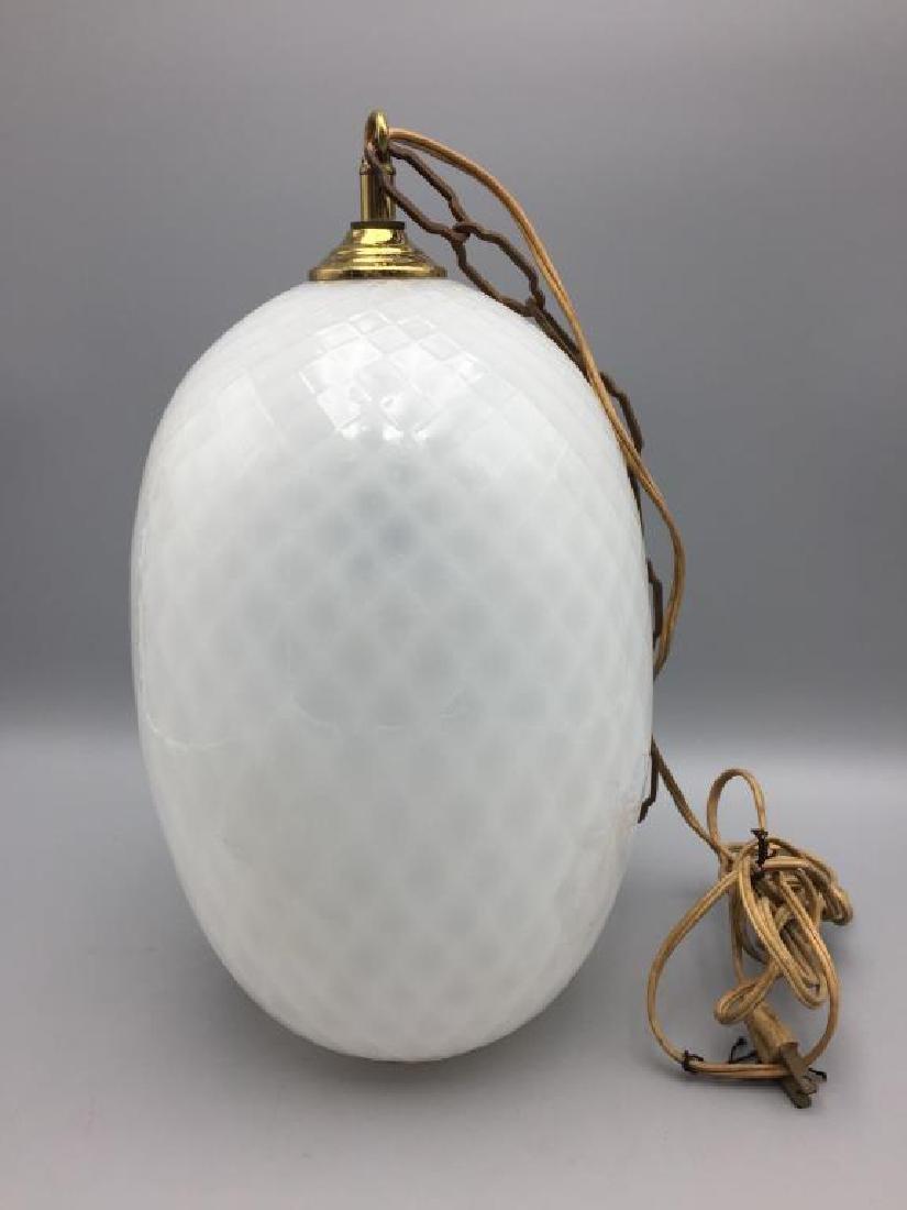 Mid Century white Murano glass hanging light