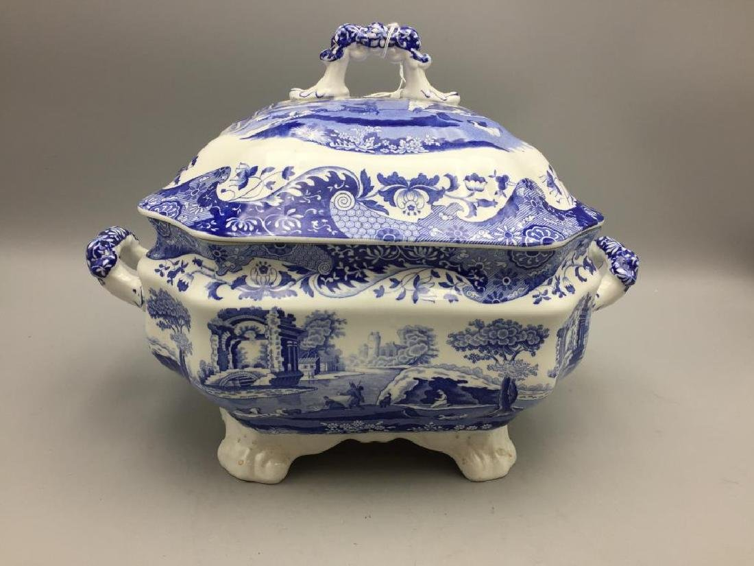Large blue and white Spode tureen