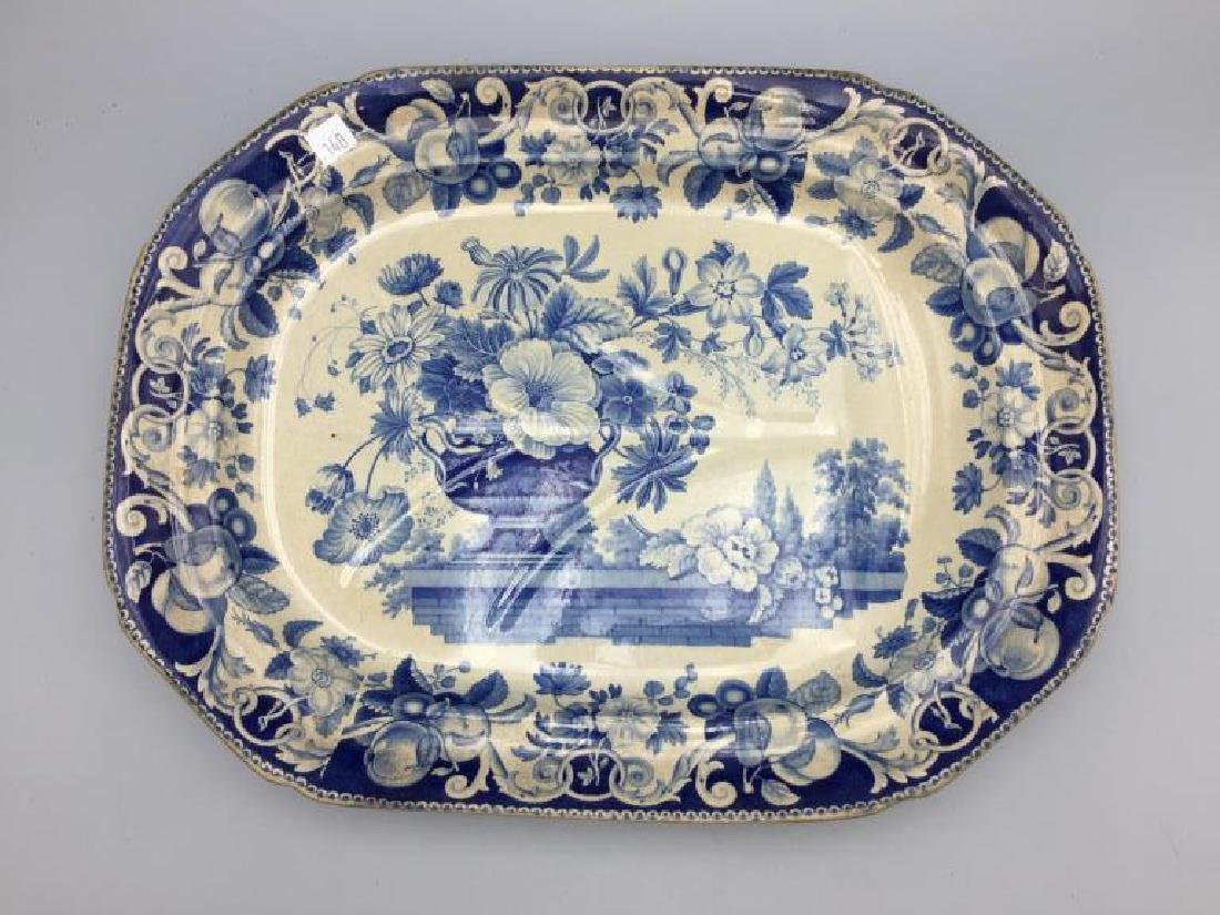 Blue and white transfer ware meat platter