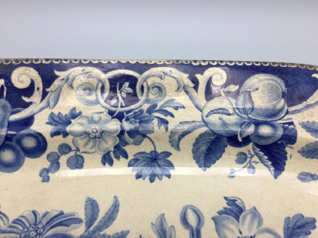 Blue and white transfer ware meat platter - 2