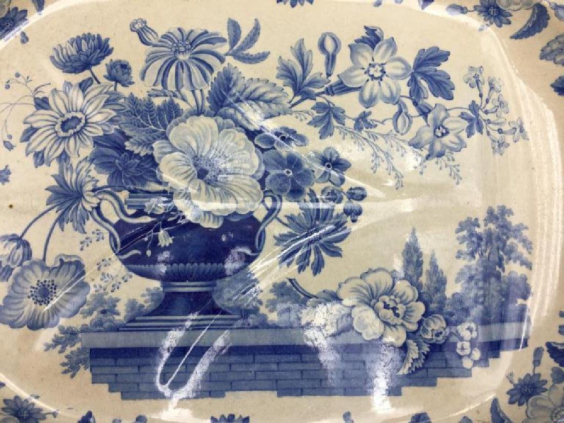 Blue and white transfer ware meat platter - 3