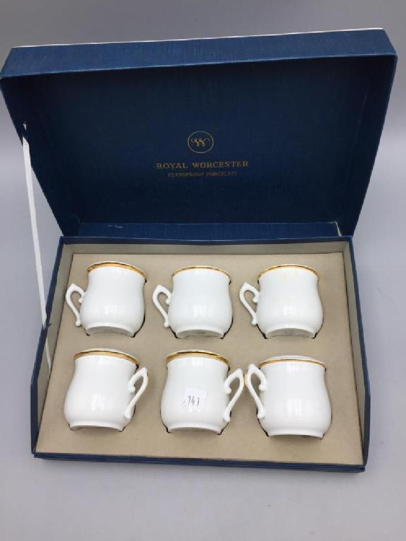 Royal Worcester set of six porcelain pots with