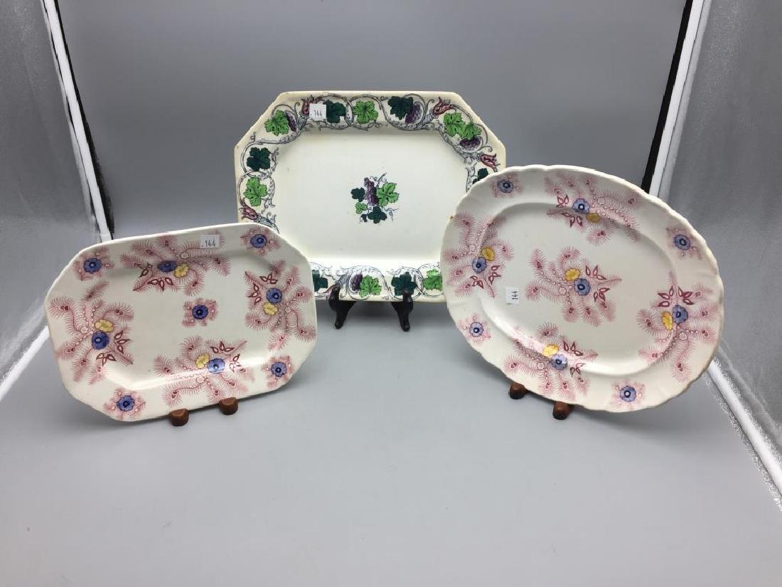 Lot of three ironstone transfer ware platters