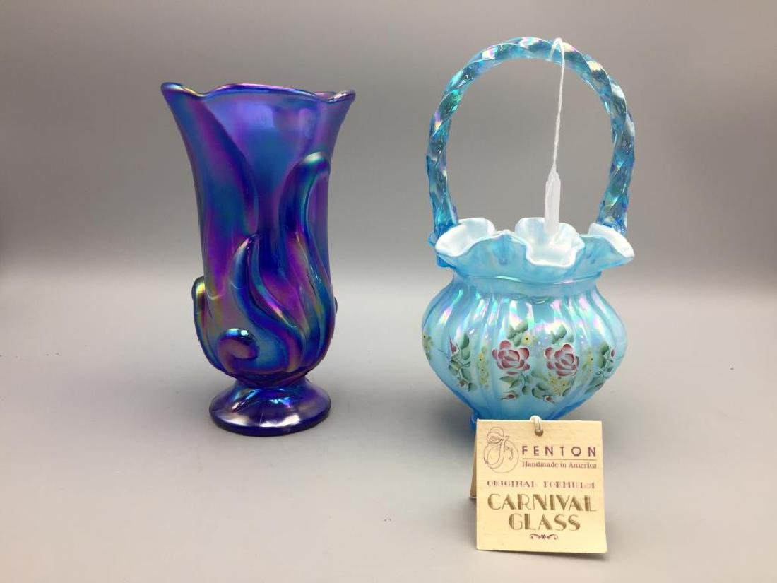 Lot of two Fenton glass items