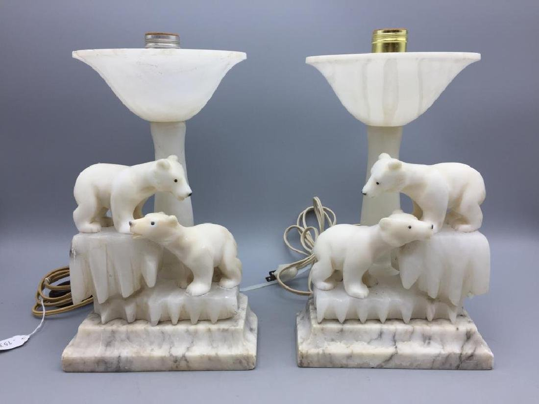 Pair of figural alabaster table lamps